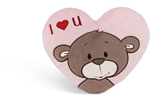 NICI 44438 Kissen Love Bär Junge herzförmig, 25cm x 22cm, pink/beige