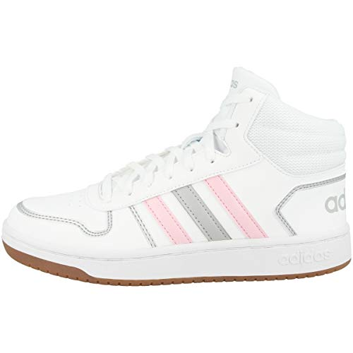 adidas Women's Hoops 2.0 MID Basketball Shoe, FTWR White Clear Pink Grey Two, 9 UK
