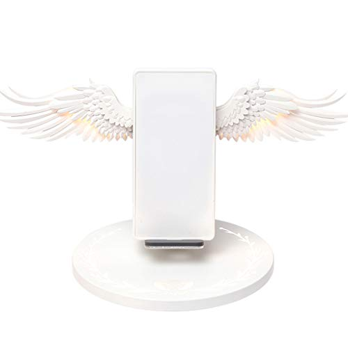 JHD Universal 10W Angel Wings Cargador rápido inalámbrico Adaptador de Corriente Base de Carga Soporte para iPhone Samsung Huawei Xiaomi Teléfono móvil