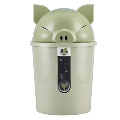 LOMJK Papeleras Basura Cubo de Basura de la Historieta Creativa Piggy Bin Hogar Baño Sala Cocina plástica de la Cubierta Europea Papelera Cubos de Basura (Color : Green, tamaño : 8L)