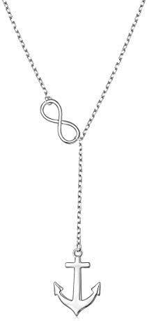 Long Adjustable Necklace 925 Sterling Silver Infinity Anchor Y Shaped Lariat Necklace for Women product image