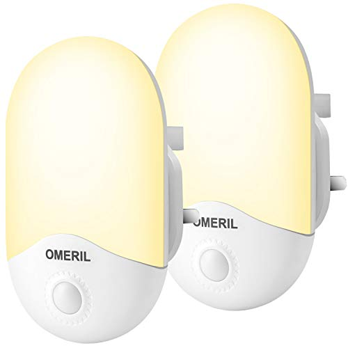 LED Night Light, OMERIL [2 Pack] Night Lights Plug in Walls with Dusk to Dawn Photocell Sensor, 0.5W Energy Saving, Warm White Plug in Night Lighting for Kids/Children, Bedroom, Hallway, etc