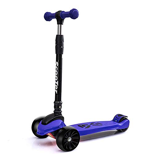 PLLP Outdoor Sports Scooter Kick,Folding Kick with Lighted Wheel, Adjustable for Kids Aged 3-13Yr Old, Wide Pedal Rear Brake, Best Gift for Girls Boys Adult Child Toy Balance Car Mini,Purple