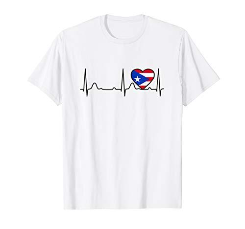 Corazon Boricua Latidos del Corazon y Bandera de Puerto Rico T-Shirt