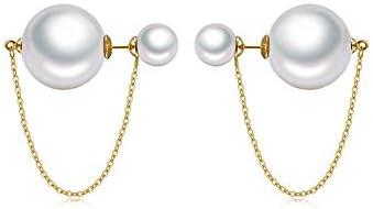 Double Sided Faux Pearl Tassel Dangle Stud Earrings for Women Girls S925 Sterling Silver Gold product image