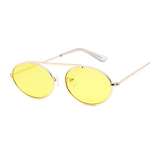 DLSM Gafas de sol pequeñas ovaladas espejo gafas de sol para mujer, color rojo y mujer, gafas de sol de aleación UV400 (color: GoldYellow)