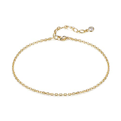 BENEIGE Simple Gold Anklets for Women 14K Gold Plated Thin Chain Anklet Dainty Summer Beach Ankle Bracelet Minimalist Foot Bracelet for Her Jewelry Gifts