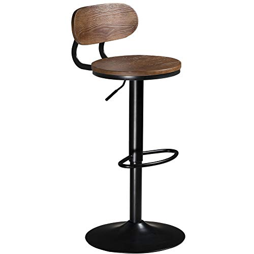 Barhocker Holz höhenverstellbar Küchenhocker Barstuhl drehbar Barhocker mit Lehne Industrial Tresenhocker 360° drehbar Stuhl verchromter Stahl belastbar bis 180kg