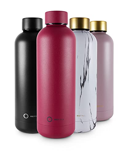 REFYLL Botella de acero inoxidable wonderFYLL – 500 ml Termo – antigoteo, sin BPA – Botella aislada de agua de doble pared, termo (Wild Berry 500 ml)