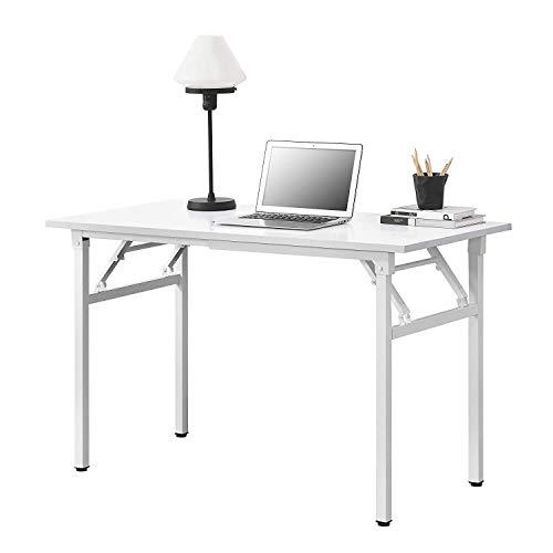 Klapptisch - 120 x 60 x 75-76.4cm Schreibtisch Bürotisch Computertisch Klapptisch Buche/schwarz (Color : White)