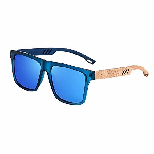 Gafas de sol polarizadas de madera, gafas cuadradas, gafas de sol de bambú, retro casual para hombre