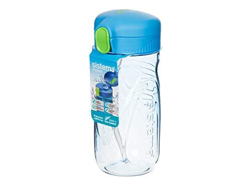 Sistema 2er Pack Tritan Quick Flip Plastikflasche (Strohflasche), 520ml, farblich Sortiert