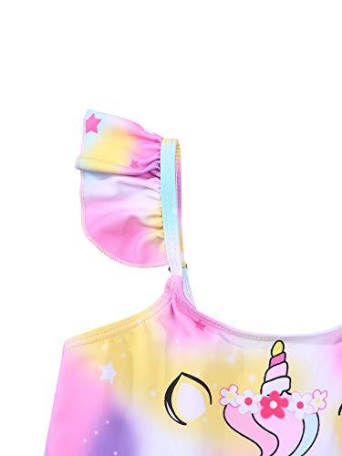 Bikini para bebé niña de 3 a 8 años de verano con estampado de dibujos animados, multicolor, 5-6 años