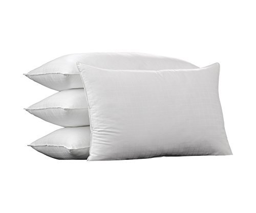Ella Jayne Home King Size Bed Pillows- 4 Pack White Hotel Pillows- Gel Fiber Filled Firm Gel Pillows with Hypoallergenic 100% Cotton Dobby Box Cover- Best Pillow for Side Sleepers & Back Sleepers