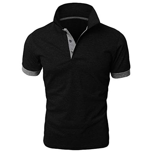 Yowablo Herren Poloshirt Polo Polohemd Kurzarmshirt Shirt Basic Mode Patchwork Shirt Double Color T-Shirts Top Blusen (L,Grau)