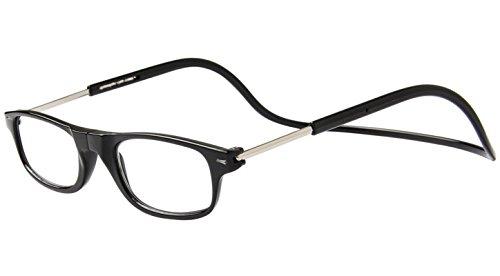 TBOC Gafas de Lectura Presbicia Vista Cansada – Montura Negra Graduadas +2.00 Dioptrías Hombre Mujer Regulables Imantadas Magnéticas Plegables Lentes Aumento Leer Ver Cerca Cuello Cierre Imán