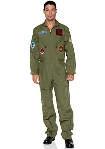 Leg Avenue Official Top Gun Flight Suit-8s Movie Jumpsuit Halloween Costume for Men, Khaki/Green, Medium-Large