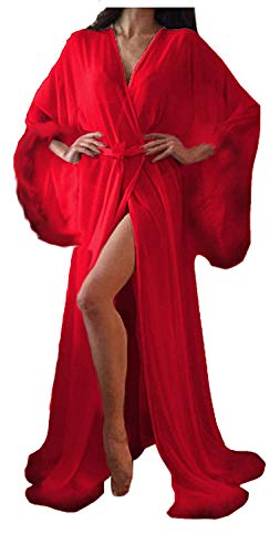 Women Sexy Feathers Collar Perspective Sheer Long Lingerie Robe Nightgown Bathrobe Pajamas Sleepwear (Red, 2XL)