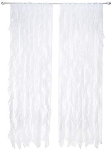 Sweet Home Collection Vorhang, Voile, vertikal, gerafft, 213 x 127 cm, 2 Stück. Shabby Chic 96