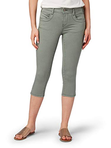 TOM TAILOR Damen Alexa Capri Slim Jeans, Grün (Pale Bark Green 13182), 30W