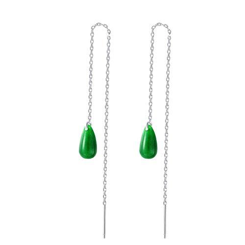 MIYUAN Women 925 Silver Jade Retro Long Tassel Dangle Drop Jade Classical Earrings