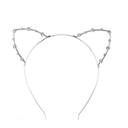VOARGE 1X Katze Ohren Form Haarreif Party Stirnband, Niedlichen Strass Haarreif mit Katze Ohren Fancy Dress, für Maskerade Weihnachten Party (Silber)
