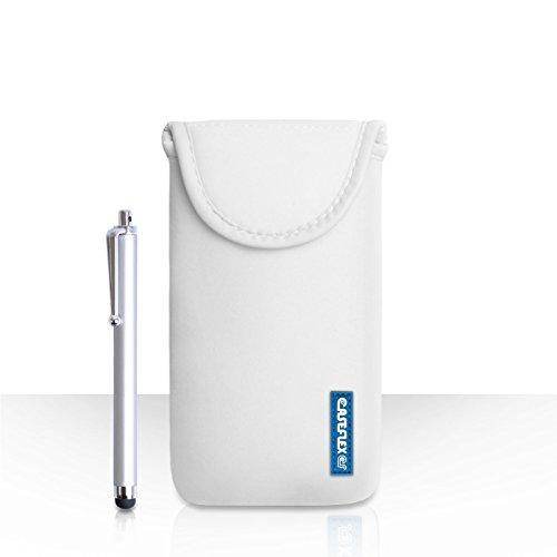 Hülleflex Kompatibel FürHTC Desire 630 Tasche Weiß Neoprene Beutel Hülle Mit Handgriffel Stift