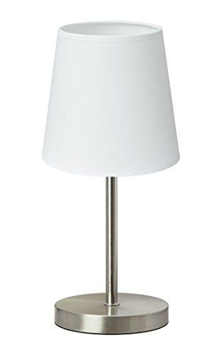 Trango 2017-09W Tischleuchte, Nachttischlampe, Schreibtischleuchte, Tischlampe, Lampe *WHITE* mit Stoffschirm in Weiß Durchmesser: 170mm, Höhe: 365mm