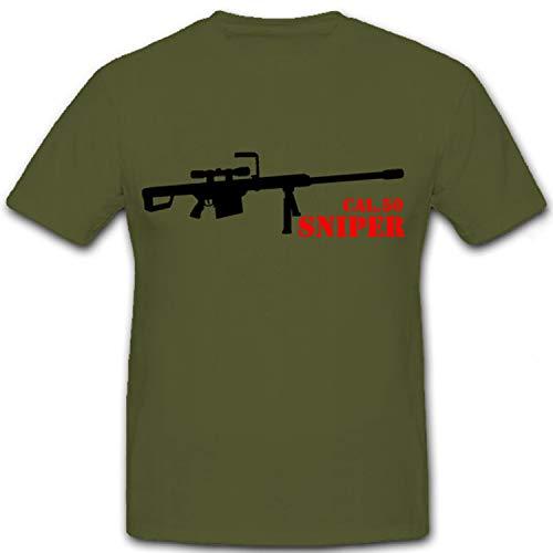 Cal 50 Sniper Gewehr Scharfschütze Scharfschützengewehr - T Shirt #7169, Größe:S, Farbe:Oliv