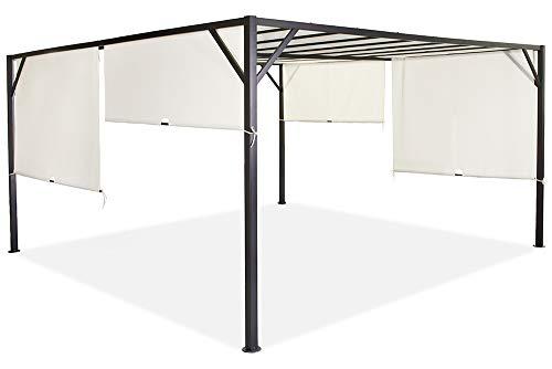 Garden Point Pergola per Terrazza Santorini | 400 x 400 cm | Ideale con mobili da Giardino e Jacuzzi | Montaggio Facile | Crema