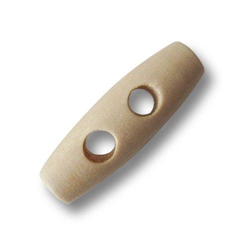 Knopfparadies - 10er Set kleine Klassische hell holzfarbene Zweiloch Knebel Holzknöpfe/B-Ware/Hell Holzfarben/Knebelknöpfe/Holz Knöpfe/Ø ca. 10x30mm