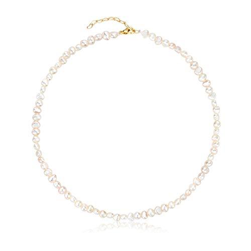 Gargantilla de perlas de 5 mm, collar de perlas cultivadas a mano y delicado, para el día de la madre, regalo para mujeres y madres