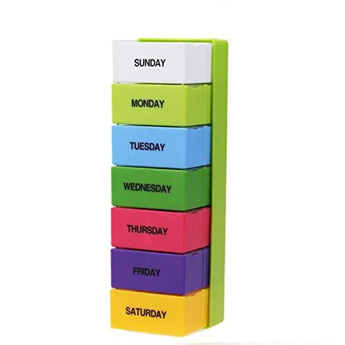 Pastillero Caja de píldoras portátiles Semanal 7 Día Caja de medicina 28 Slot Plegable Plegable Medicina de vitamina Cuidado de la salud Cajas de la píldora de maquillaje Accesorios fácil de cargar,