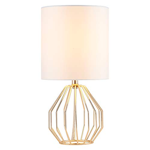 COTULIN Table Lamp,Gold Lamps for Bedroom Nightstand,Modern Hollowed Out Base Small Table Lamp with White Fabric Shade for Living Room,Small Desk Lamp