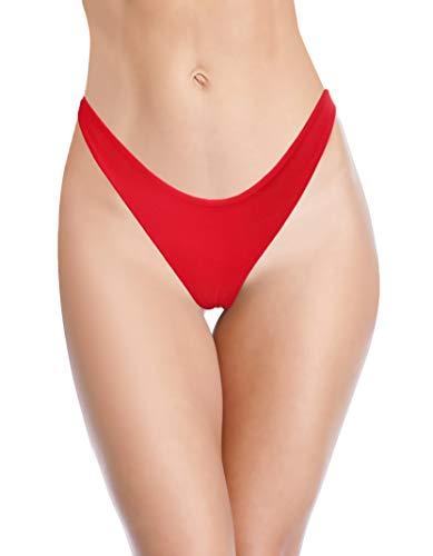 SHEKINI Damen Sexy Tanga Bikini Unterteil freche brasilianische U-Schnitt Badehose - Rot - Large