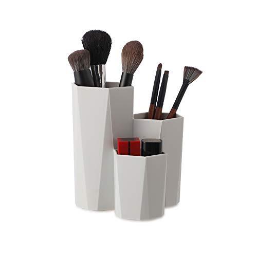 Lovingmona Porte-pinceaux de maquillage multifonction - Organiseur de bureau - Forme Hexagonale gris