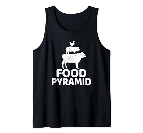 Food Pyramid - Cow Pig Chicken Carnivore Protein Meat Eater Tank Top