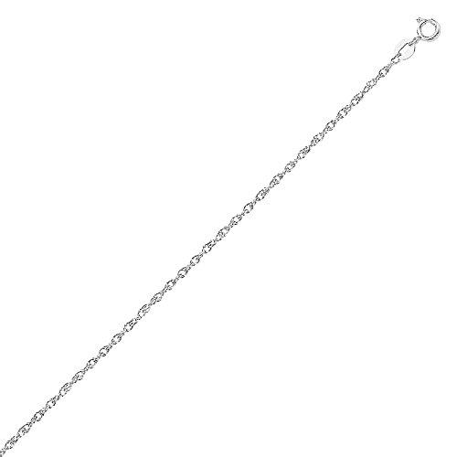 "Collier robuste avec chaîne en corde en or blanc massif 10K 16 ""0.9mm - 2"