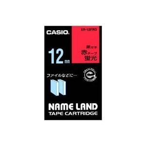 (業務用50セット) カシオ CASIO 蛍光テープ XR-12FRD 赤に黒文字 12mm ds-1733400