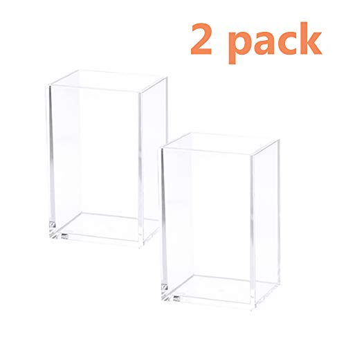 Acrylic Pen Holder Clear Desktop Pencil Cup Stationery Organizer for Office Desk  (2 Pack)