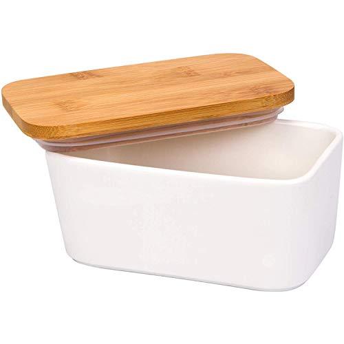 JulaJuyo Mantequera con tapa, 650 ml, de porcelana, con tapa de bambú, para mantequilla de 250 g, para casa y cocina (color blanco)