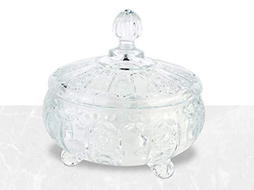 Delisoga – Bonbonglas aus hochwertigem Glas mit abnehmbarem Deckel – Bonboniere, Glasschale, Dekoschale, Zuckerdose & Ideal für Geschenke