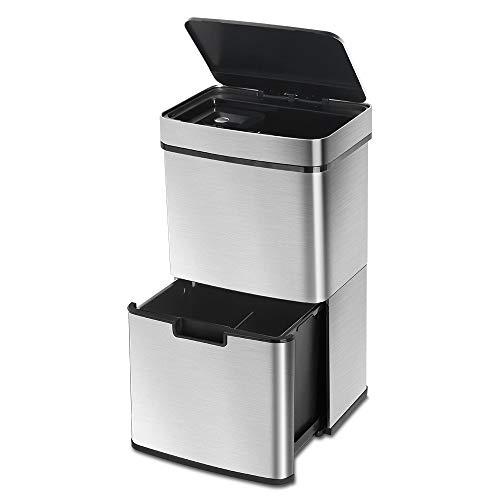 LENTIA Abfalleimer Sensor Mülleimer küche Abfallsammler aus Edelstahl mülltrenner Mülltrennsysteme mit 3 Fächern, Vollautomatische Deckelöffnung &Infrarotsensor für Küche 65L Silbergrau