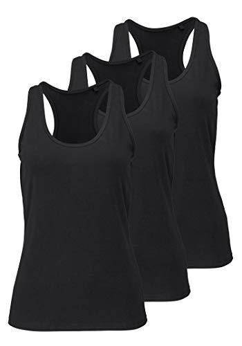 Damen Sporttop Yoga Tanktop Unterhemd Ringerrücken Workout Laufen Fitness Funktions Shirt aus Feinripp mit Rundhals 3er-Pack, XXL, 3X schwarz