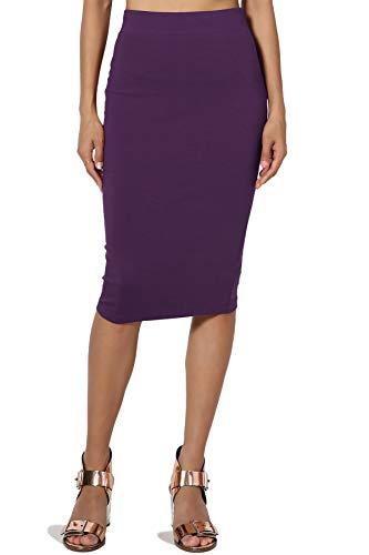 TheMogan Junior's Stretch Cotton Elastic High Waist Pencil Midi Skirt Dark Purple M