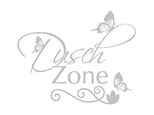 GRAZDesign Fenstertattoo Dusch Zone mit Schmetterlinge, Fensteraufkleber für Bad, Glastattoo für Dusche / 63x50cm