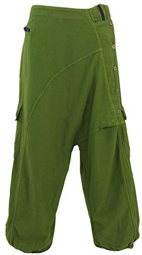 Guru-Shop Pluderhose, Haremshose Kathmandu, Damen, Olivgrün, Baumwolle, Size:L/XL (40), Pluderhosen & Aladinhosen Alternative Bekleidung