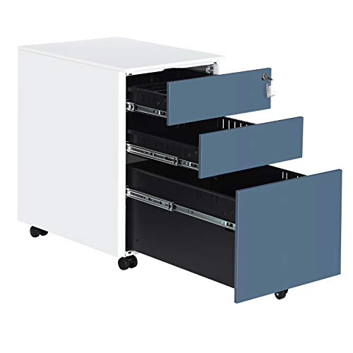 """SONGMICS Steel File Cabinet with 3 Drawers, Lockable Steel Pedestal with Hanging File Rails, 20.5""""L x 15.4""""W x 23.6""""H, White and Blue UOFC60WB"""