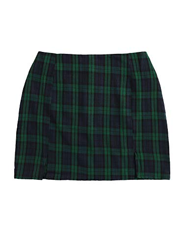 WDIRARA Women's Plaid Skirt High Waist Split Front Zip Up Mini Bodycon Skirt Dark Green M