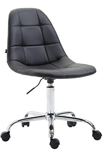 CLP Bürostuhl Reims Mit Kunstlederbezug I Schreibtischstuhl Mit Laufrollen Und Gestepptem Sitz I Höhenverstellbarer Drehstuhl, Farbe:schwarz